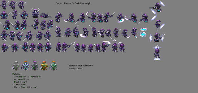 Sprite sheet for the Darkshine Knight of Trials of Mana
