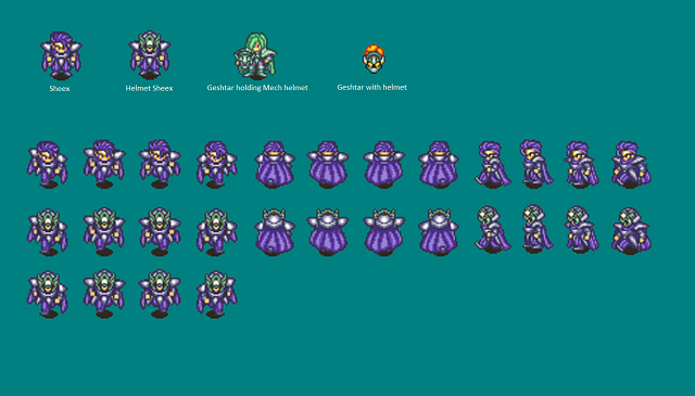 Sprite sheet for Sheex with a comparison to Gesthar, with unused elements