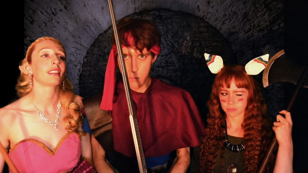 Emma Bryant (left) as Purim, Ross K. Foad (center) as Randi, and Kelsey Williams (right) as Popoi in the Series of Mana