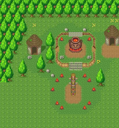 The goblin village as it appears in Secret of Mana
