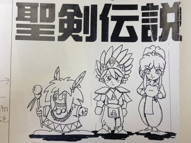 First sketch of Secret of Mana's characters