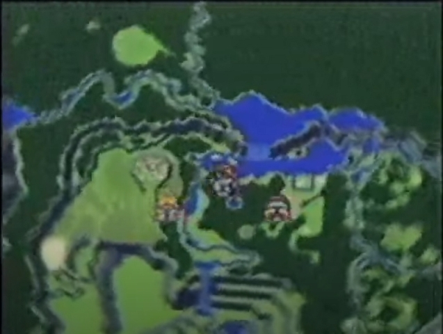 Flammie flying over a prerelease version of the Secret of Mana world map