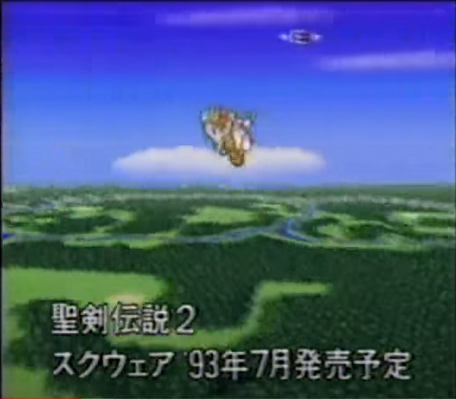 Flammie flying over a prerelease version of the world map